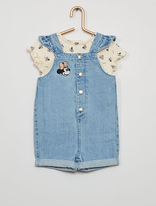 Completo tuta corta + t-shirt eco-sostenibili 'Minnie'                             BIANCO