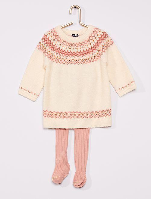 Completo vestito + collant                                         BIANCO