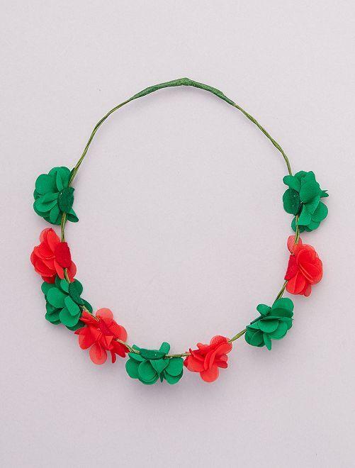 Corona di fiori con i colori del Portogallo                                                                 ROSSO