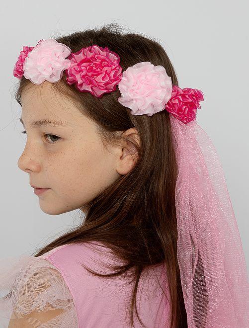 Corona di fiori con velo                             rosa