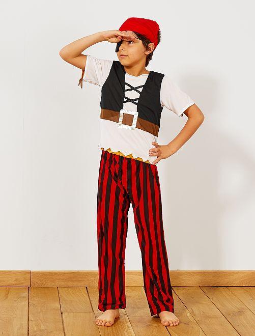 Costume 3 in 1 pirata, indiano e cowboy                             marrone