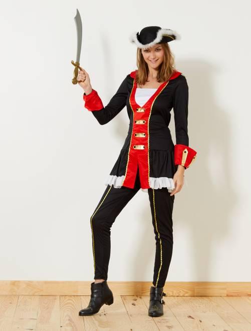 Costume corsaro                             nero/rosso Donna