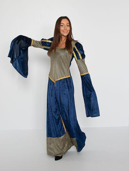 Costume da regina medievale                             BLU