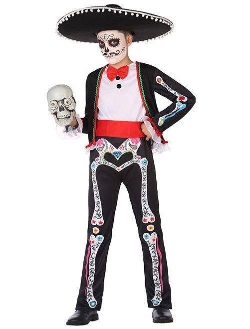 Costume da scheletro 'Dia de muertos'                             NERO
