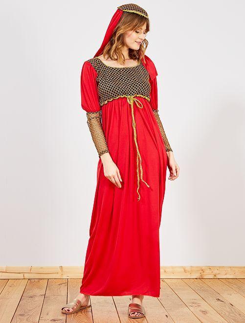 Costume donna medievale                             rosso/oro