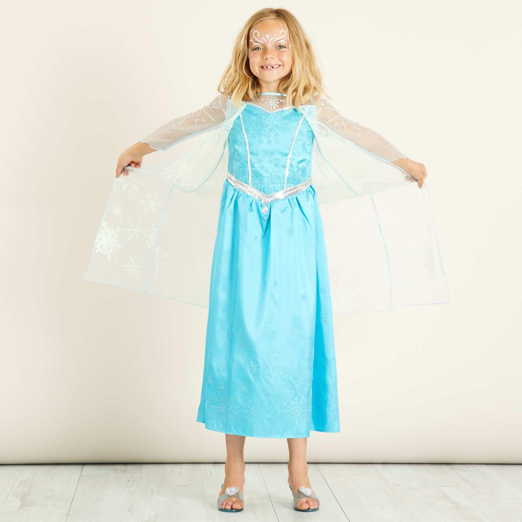 Costume elsa di frozen il regno di ghiaccio bambini blu