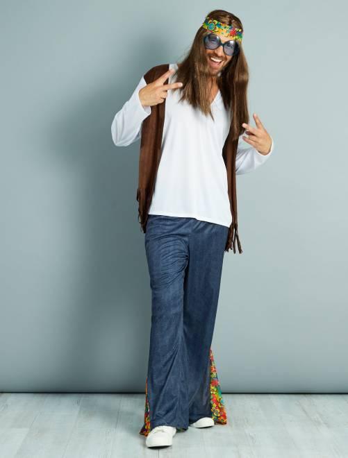Costume hippy                             blanc/bleu/marron Uomo
