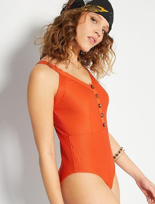 Costume intero a coste                                         arancio
