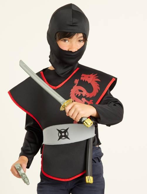 Costume ninja                             nero/rosso Bambini