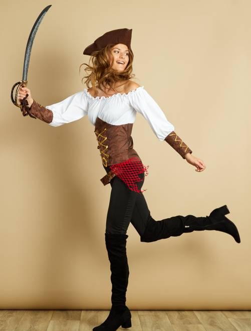 Costume pirata                             marrone Donna