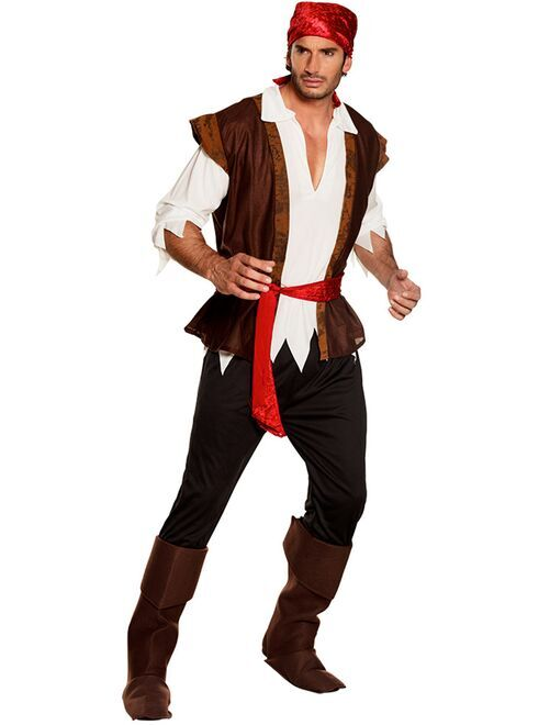 Costume pirata                             marrone Uomo