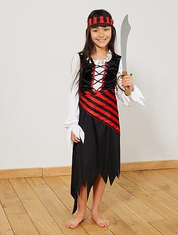 Costume pirata                             nero/rosso Bambini