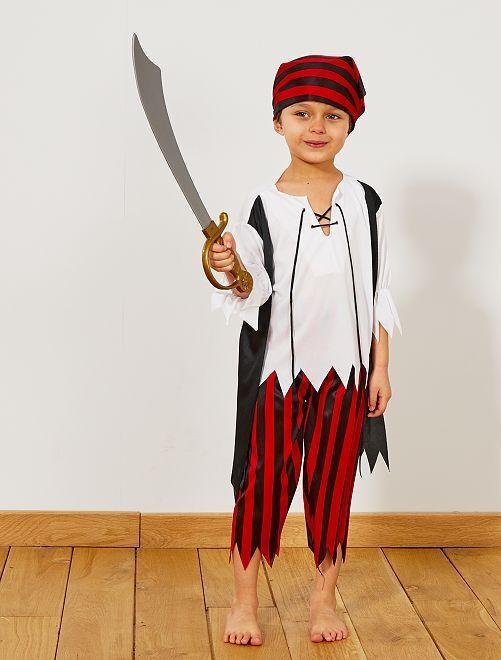 Costume pirata                             nero/rosso/bianco Bambini