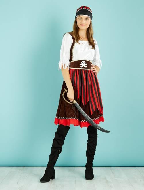 Costume piratessa                             nero/rosso