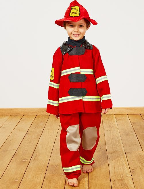 Costume pompiere                             rosso Bambini