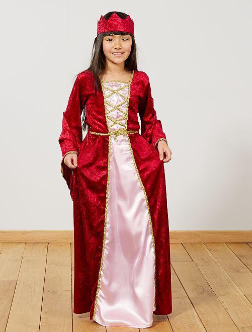 Costume principessa medievale                             rosso Bambini