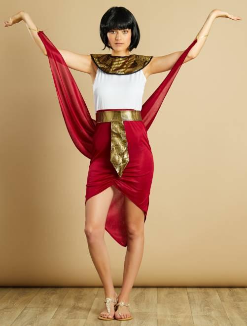 Costume regina egiziana                             rosso/bianco