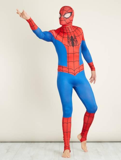 Costume 'Spiderman' seconda pelle con cappuccio                             blu/rosso