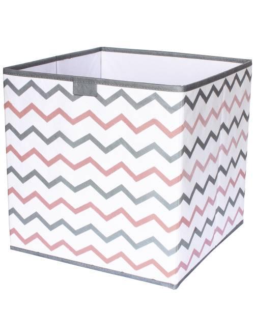Cubo contenitore pieghevole stampa 'zig-zag'                     gris/rose/blanc