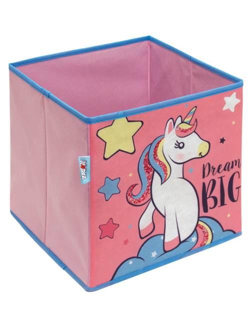 Cubo portaoggetti pieghevole 'unicorno'                             ROSA