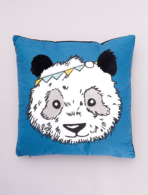 Cuscino 'panda' bimateriale                             blu