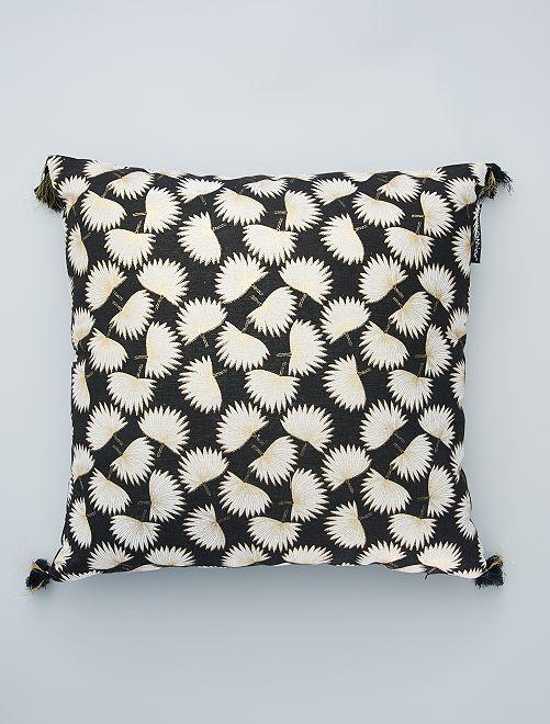 Cuscino stampato Ginkgo                             nero