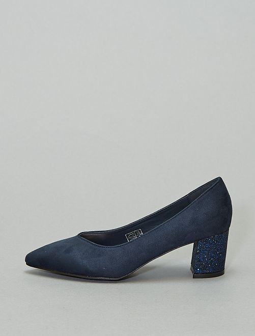 Décolleté tacco luccicante                             blu navy