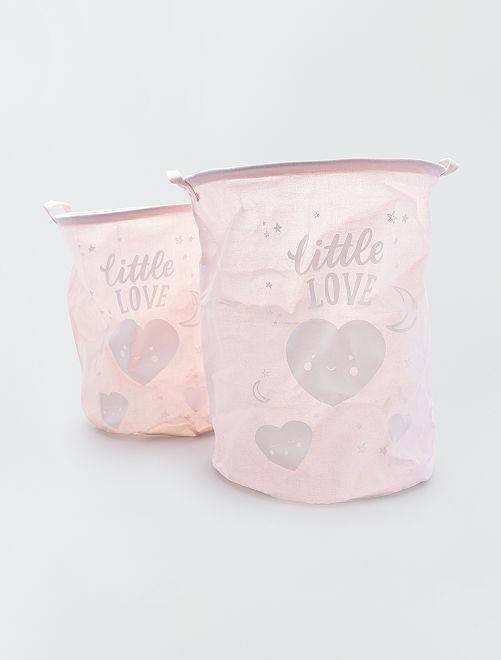 Doppia cesta per il bucato 'Little Love'                                         rosa