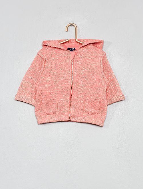 Felpa brillante con cappuccio                             rosa corallo Neonata