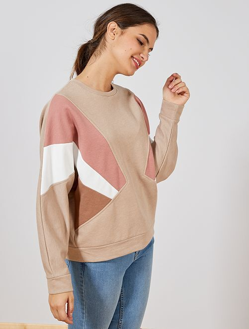 Felpa color block                             BEIGE Donna