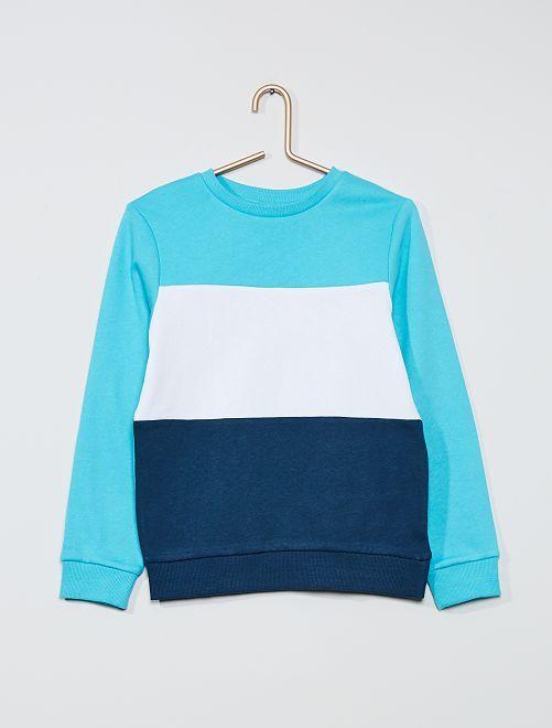 Felpa 'color block' tricolore                                                                 blu curacao
