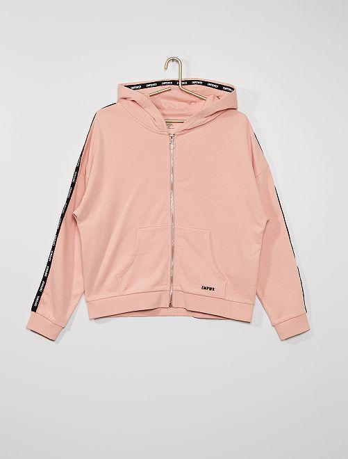 Felpa con cappuccio in tessuto felpato                                                                             rosa