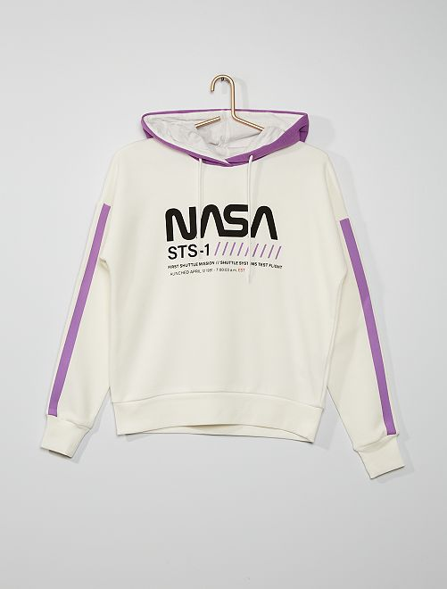 Felpa con cappuccio 'NASA'                             bianco neve
