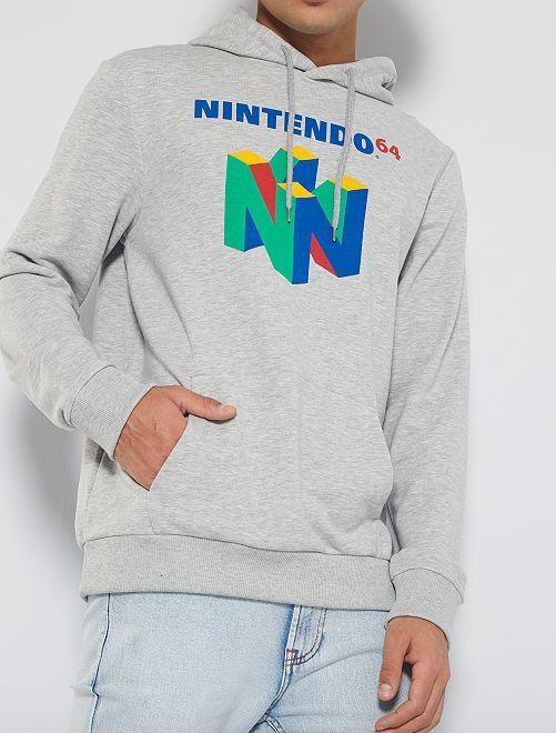 Felpa con cappuccio 'Nintendo 64'                             GRIGIO