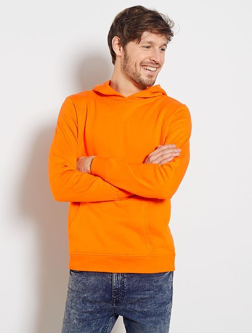 Felpa con cappuccio tasche a marsupio                     arancio
