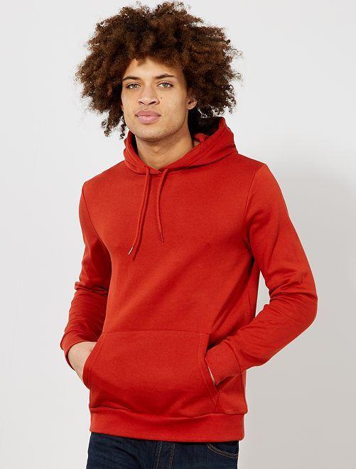 Felpa con cappuccio tessuto felpato leggero                                                                                         arancio ketchup Uomo