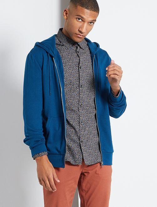 Felpa con zip e cappuccio ecosostenibile                                                                                                                 blu