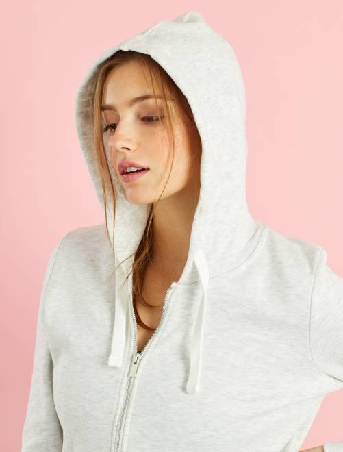 Felpa con zip e cappuccio tessuto felpato leggero                                                         bianco Donna