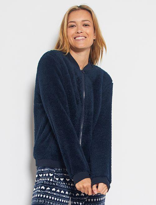Felpa con zip maglia pelosa                             BLU