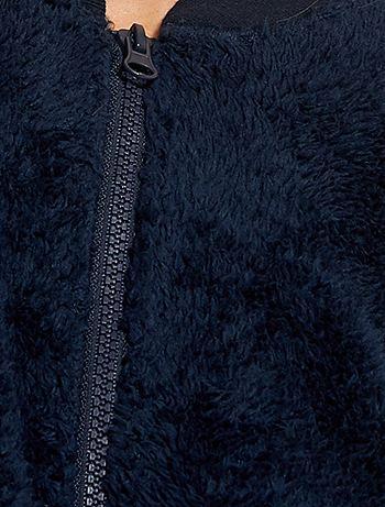 Felpa con zip maglia pelosa