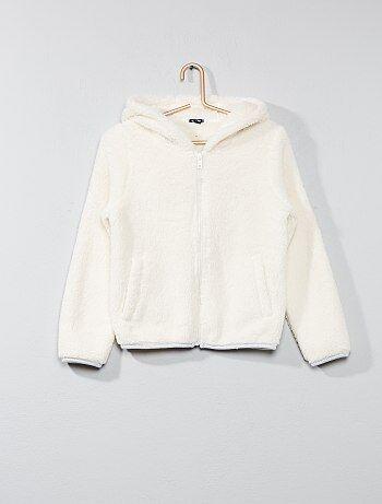 Felpa con zip maglia peluche - Kiabi
