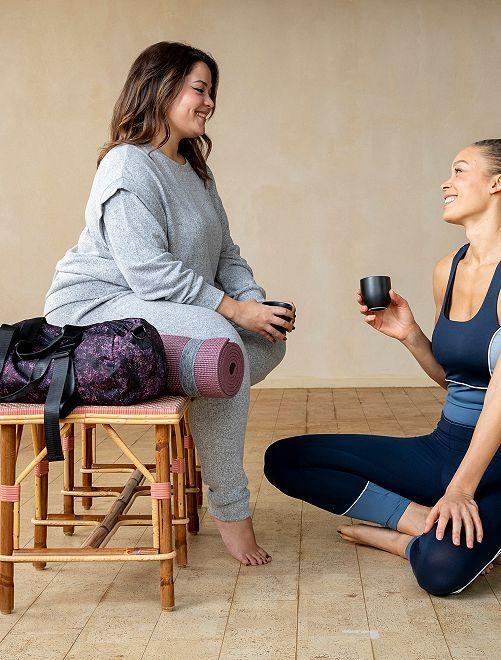 Felpa da yoga in maglia soffice                                         GRIGIO