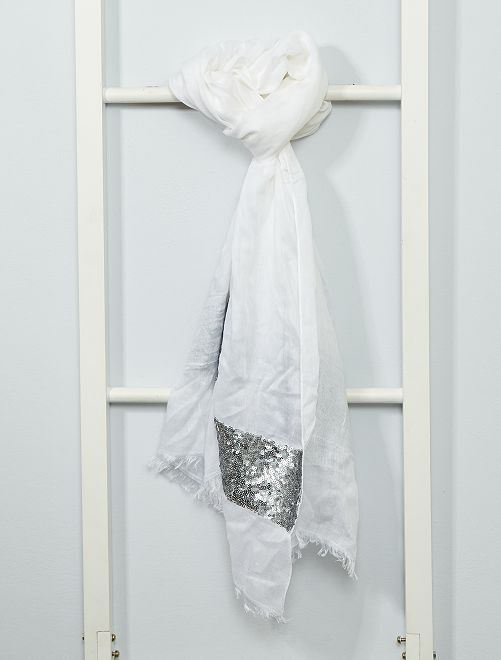 Foulard con lustrini                                         bianco