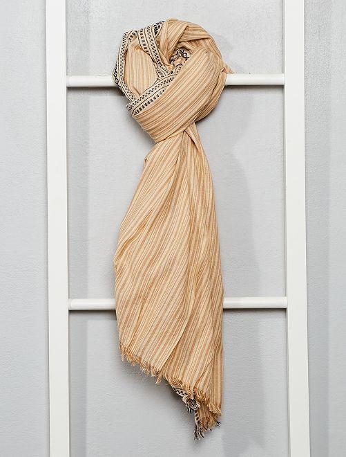 Foulard cotone tessuto 'Ikat'                             beige/ecru