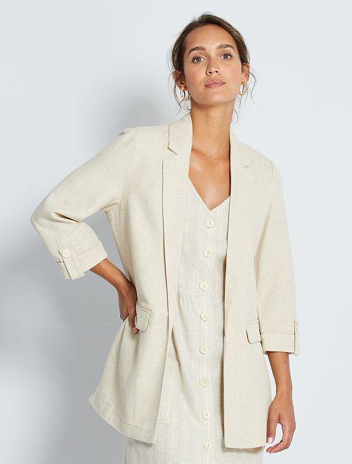 Giacca blazer con lino                                         BEIGE