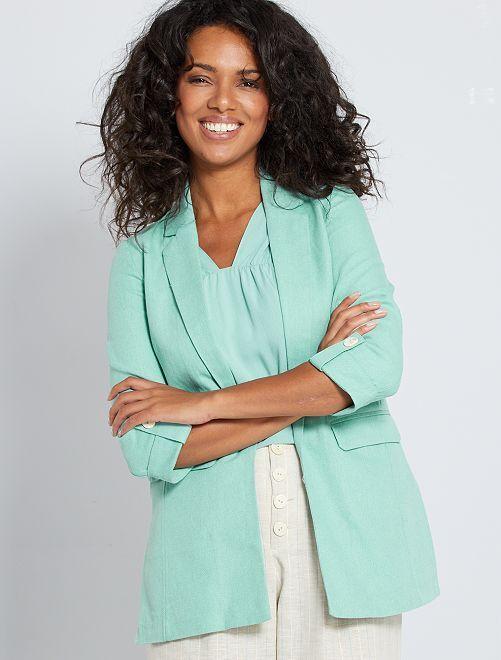 Giacca blazer con lino                                         grigio verde