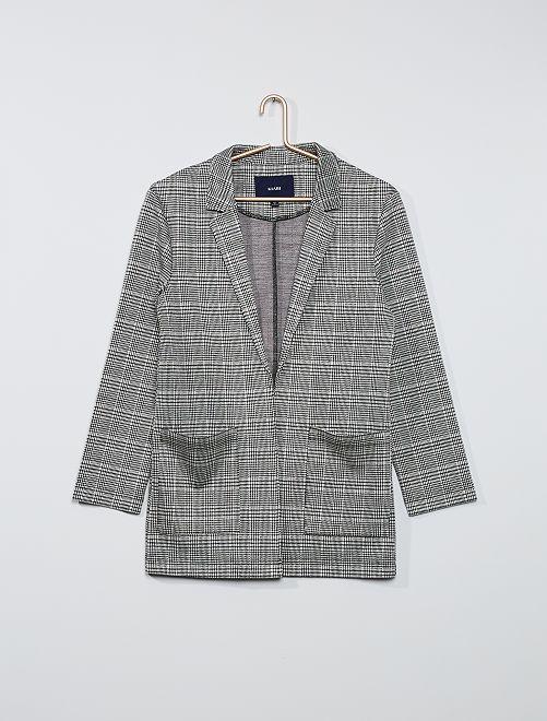 Giacca blazer in maglia                             quadri