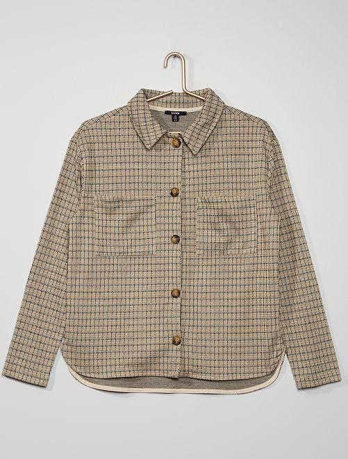 Giacca camicia in maglia a quadri                                                     a quadri beige