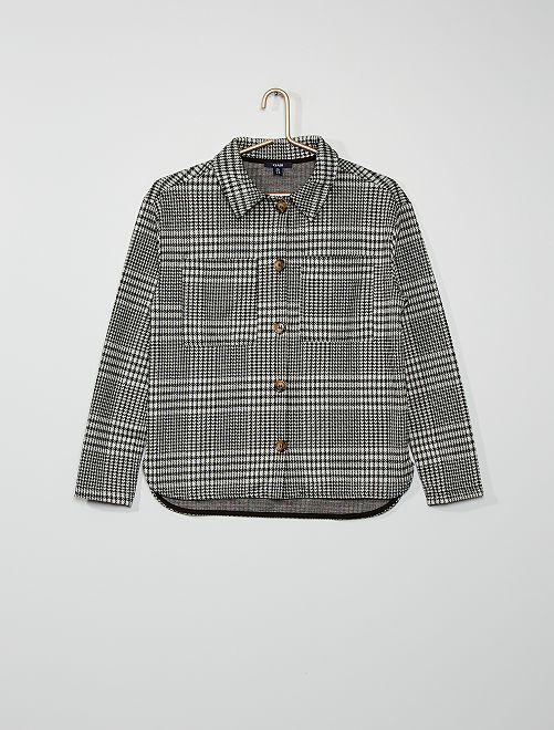 Giacca camicia in maglia a quadri                                                     NERO