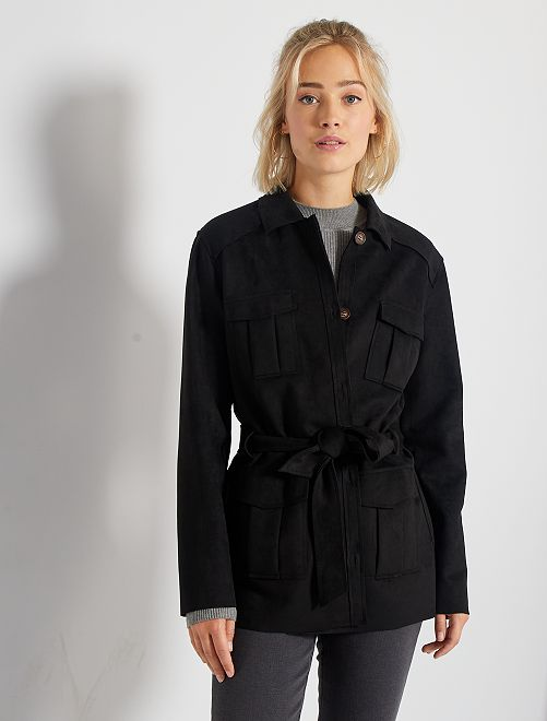 Giacca con cintura in finto camoscio                                                                 nero